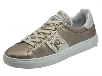 NeroGiardini E115286D Etoile Saturn Platino Sneakers sportive per donna in pelle zeppa bassa