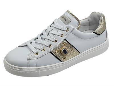 Articolo NeroGiardini E115286D Skipper Bianco Rock Sand Sneakers sportive per Donna con zeppa bassa in pelle