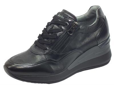 Articolo NeroGiardini I013170D Nappa Pandora Nero Sneakers Donna in pelle con lacci e lampo