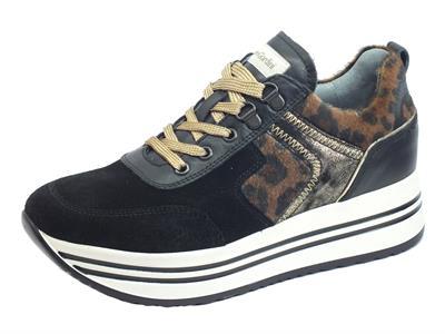 NeroGiardini I013290D Velour Guanto Nero Sneakers Donna in nabuk e ecocavallina