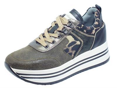 Articolo NeroGiardini I013291D Sebring Militare Sneakers  Donna in pelle zeppa alta elementi leopardati