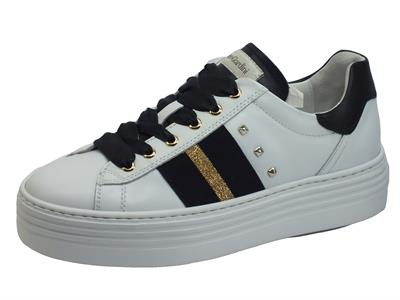 NeroGiardini I013370D Skipper Bianco Sneakers Sportive Donna in pelle bianca zeppa bassa