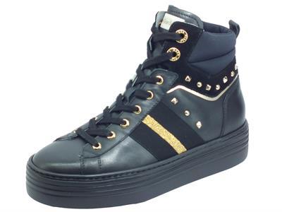 Articolo NeroGiardini I013371D Guanto Velour Nero Sneakers Sportive Donna pelle zeppa bassa elementi oro