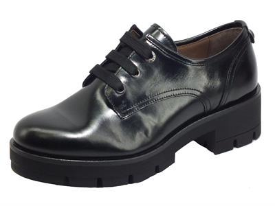 Articolo NeroGiardini I014250D Prince Nero Sneakers Donna in pelle abrasivata tacco medio
