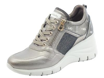 Articolo NeroGiardini I116880D Akoya Major Brown Sneakers  Donna in pelle logata lacci lampo zeppa alta