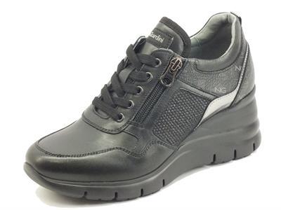 Articolo NeroGiardini I116880D Guanto Nero Sneakers Donna in pelle con zeppa alta