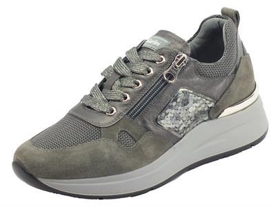 Articolo NeroGiardini I116900D Velour Cemento  Sneakers  Donna in camoscio e tessuto grigio