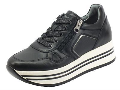 NeroGiardini I116930D Guanto Nero Sneakers  Donna in pelle con lacci e lampo zeppa alta