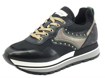 Articolo NeroGiardini I1169400D Guanto Dallas Nero Sneakers Donna pelle logata nera tessuto con lacci