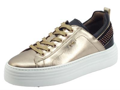 Articolo NeroGiardini I117001D Oxigen Bronzo Sneakers Donna in pelle bronzo e nero zeppona