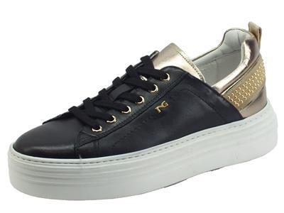 Articolo NeroGiardini I117001D Oxigen Nero Sneakers Donna in pelle bronzo e nero zeppona