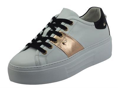 Articolo NeroGiardini I117011D Skipper Bianco Sneakers Donna in pelle zeppa alta