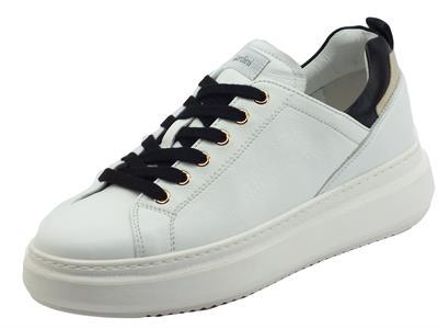 Articolo NeroGiardini I117050D Velvet Bianco Sneakers Donna in pelle zeppa bassa