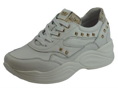 Articolo NeroGiardini NG A909073D Nappa Pandora Comix Bianco Sneakers Donna in pelle con elementi oro