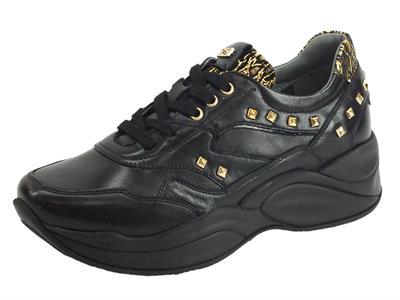 Articolo NeroGiardini NG A909073D Nappa Pandora Comix Nero Sneakers Donna in pelle con elementi oro