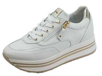Articolo NeroGiardini skipper bianco oxigen platino sneakers donna in pelle bianca zeppa media