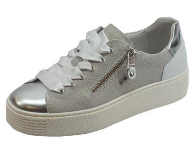 Articolo NeroGiardini sneakers sportive donna in pelle argento e crosta grigia lampo e lacci in raso