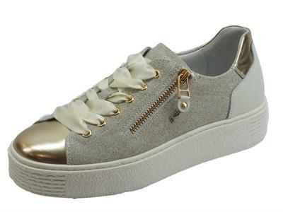 Articolo NeroGiardini sneakers sportive donna in pelle oro e crosta grigia lampo e lacci in raso