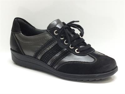 Sneakers ara in pelle e nabuk nero piombo per donna