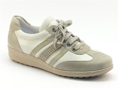 Articolo Sneakers Ara per donna in pelle bianca e camoscio grigio