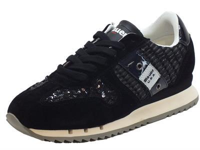 Articolo Sneakers Blauer USA per donna in camoscio e paiettes nera