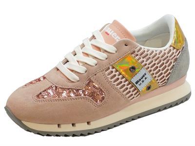 Articolo Sneakers Blauer USA per donna in camoscio e paiettes rosa