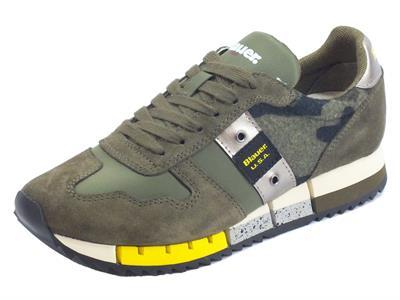 Articolo Sneakers Blauer USA per donna Melrose in tessuto e camoscio verde militare