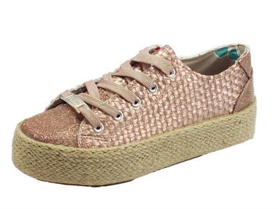 Articolo Sneakers CafèNoir in ecopelle effetto tela e brillantinato cipria zeppa in corda
