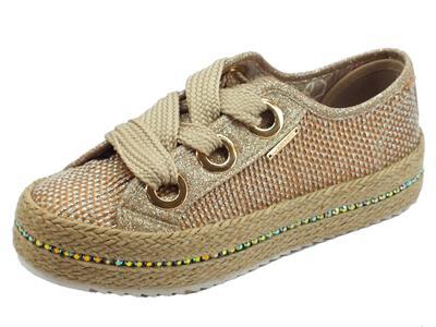 Articolo Sneakers CafèNoir in sintetico effetto tela beige bronzo brillantinato oro zeppa in corda