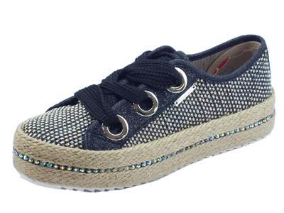 Articolo Sneakers CafèNoir in sintetico effetto tela nero oro brillantinato nero zeppa in corda