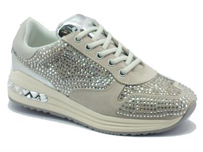 Sneakers CafèNoir per donna in camoscio beige con strass
