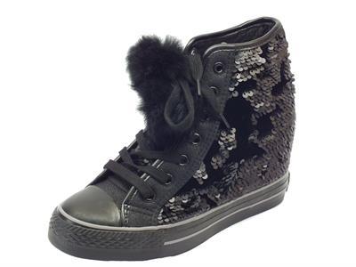 Articolo Sneakers CafèNoir per donna in paiettes nere zeppa interna alta