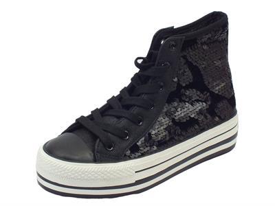 Sneakers CafèNoir per donna in paiettes nere zeppa sportiva media