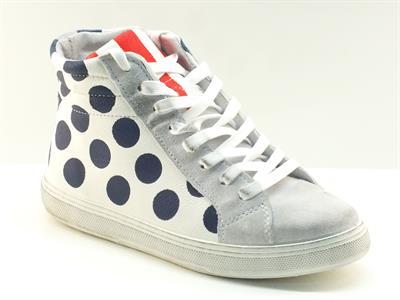 Sneakers CafèNoir per donna in pelle bianca pois blu