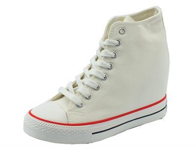 Articolo Sneakers CafèNoir per donna in tessuto bianco zeppa interna