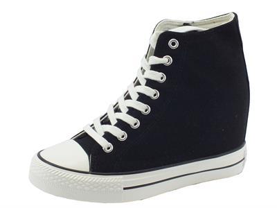 Sneakers CafèNoir per donna in tessuto nero zeppa interna