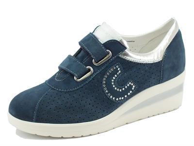 Sneakers Cinzia Soft per donna in nabuk blu doppio velcro