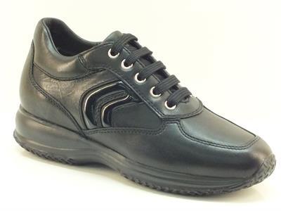 Sneakers classiche Geox per donna in pelle nera