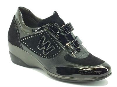 Articolo Sneakers donna Melluso in nabuk e vernice nera