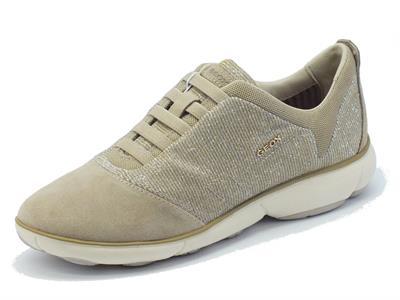 Sneakers Geox per donna in camoscio tessuto taupe effetto brillantinato oro