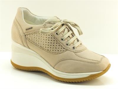 Sneakers Geox per donna in camoscio traforato e tessuto grigio