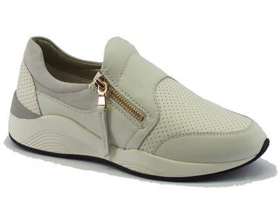 Sneakers Geox per donna in pelle bianca con lampo