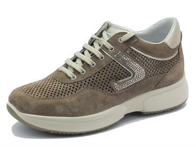 Sneakers Grisport Elite per donna in camoscio traforato tortora