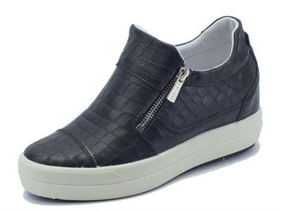 Articolo Sneakers Igi&Co per donna in pelle nera effetto cocco doppia lampo