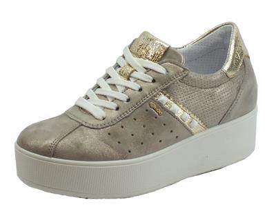 Sneakers Igi&Co per donna in pelle nuvolato perlato taupe sottopiede alto