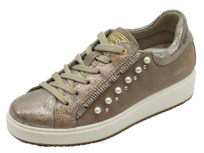 Sneakers Igi&Co per donna in pelle scamosciata taupe stringata