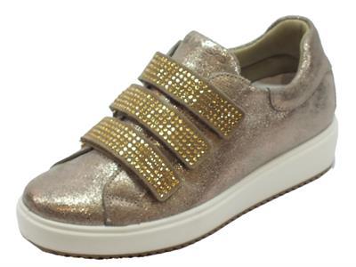 Articolo Sneakers Igi&Co per donna in pelle scamosciata taupe tripla chiusura strappo