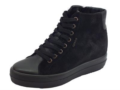 Sneakers Igi&Co per donna in scamosciato nero zeppa interna media