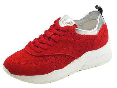 Articolo Sneakers Karlie LIU-JO per donna in camoscio rossa dettagli argento zeppa alta