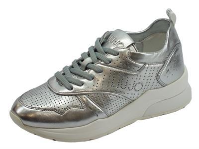 Articolo Sneakers Karlie LIU-JO per donna in pelle argento zeppa alta